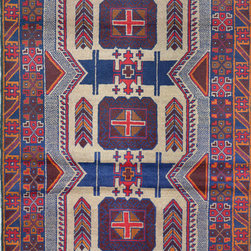 """ALRUG - Handmade Navy Blue Oriental Tribal Baluchi Rug 3' 7"""" x 6' 5"""" (ft) - This Afghan Baluchi design rug is hand-knotted with Wool on Wool."""