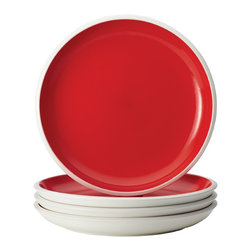 Rachael Ray - Rachael Ray Dinnerware 'Rise' 4-Piece Stoneware Dinner Plate Set, Red - With their eye-catching style and two-tone hues, these plates add dynamic mix-and-match capabilities to other pieces in the entire Rise collection to create a personalized table setting. The dinner plate set is crafted from durable glazed stoneware
