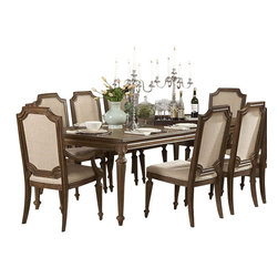 Homelegance - Homelegance Eastover 8-Piece Dining Room Set - The architectural design elements of the Eastover collection such as dental crown moldings, scroll and leaf carvings and turned bun feet present a traditional look while the lightly distressed driftwood finish adds a casual quality to what would otherwise be a more formal design. Eastover, a new twist on traditional designed for today's casual lifestyle.