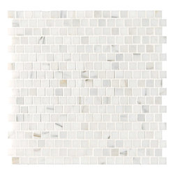 marblesystems - Calacata Gold Polished Offset - Natural marble mosaic tile that can be used on floors and walls. Made in Italy.