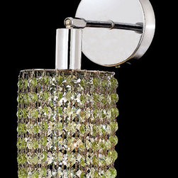 Elegant Lighting - Mini Ellipse Chrome One-Light Bath Fixture with Royal Cut Light Peridot Green Cr - Royal Cut crystal is a combination of high quality lead free machine cut and machine polished crystals and full-lead machined-cut crystals to meet a desirable showmanship of an authentic crystal light fixture.  -Recommended to be professionally hung and supported independently of the outlet box. Consult an electrician for guidance to determine the correct hanging procedure.  -Crystals may ship separately and some assembly is required.  -Depending on the size & design the assembly can be time consuming, but is well worth the effort. Elegant Lighting - 1281W-R-E-LP/RC