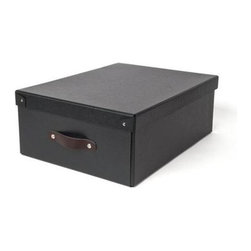 Bigso - Bigso Large Storage Box - Graphite, Set of 2 - Outfit your closet, office or storage with our graphite large Closet Storage Boxes. Use them to store shirts and sweaters in the closet, files in the office or on rolling storage in the garage. Constructed of recycled fiberboard with leather handles, these multi-purpose covered boxes handsomely organize any space.