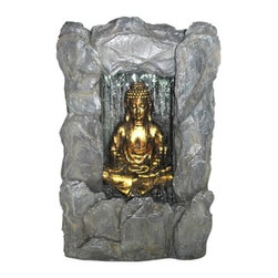 "31"" Rock Buddha Fountain with Light - This sitting Buddha features a wall of water illuminated by an underwater LED light. It is made of fiberglass resin although it looks as if it is carved from stone."