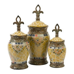 """IMAX - Vallarta Ceramic Canisters - Set of 3 - Inspired by highly decorated Spanish tile, the Vallarta ceramic canisters feature a Fleur-de-Lis finial lid and a rich yellow shade. Item Dimensions: (19-16-13.25""""h x 6.75-6-5.5""""w x 6.75-6-5.5"""")"""