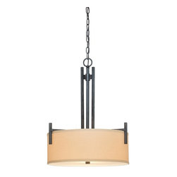 Dolan Designs - Dolan Designs 2944-34 3 Light Ambient Light Foyer PendantTecido Collection - With a retro-modern style reminiscent of the 1960's, this 3 Light Foyer Pendant features simple square arms and timeless drum shaped Beige Fabric Shades.