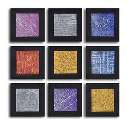 "Tic-tac-toe tin tiles Hand Painted 9 piece canvas set - Size: 36"" x 36"" (12"" x 12"" x 9pc)"