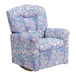 """Flash Furniture - Kids Hippi Chic Fabric Rocker Recliner - Kids will now be able to enjoy the comfort that adults experience with a comfortable recliner that was made just for them! This chair features a strong wood frame with soft foam and then enveloped in durable fabric upholstery for your active child. Choose from an array of colors that will best suit your child's personality or bedroom. This petite sized recliner features a rocker frame for kids to enjoy and feel like a big kid. The rocking feature becomes disabled once the chair is reclined for safety. Child's Recliner; Hippi Chic Fabric Upholstery; Easy to Clean Upholstery; Plush Button Tufted Back; Spring Seat; Fire Retardant Foam; UFAC Tested and Approved; Solid Hardwood Frame; Hardwood Rocker Frame; Intended use for Children Ages 2-9; 90 lb. Weight Limit; Safety Feature: Will not rock while reclined due to welded T-Bar; Overall dimensions: 22.5""""W x 24"""" - 37""""D x 28""""H"""