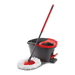 Easy Wring Spin Mop & Bucket System - A mop and bucket with a built-in wringer helps you clean floors quickly.