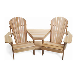 All Things Cedar - All Things Cedar TT42U Athena Corner Tete-a-Tete Adirondack - Comfortable athena adirondack seating for 2 with corner table design and a lower magazine rack    Dimensions:   69 x 42 x 37 in. (w x d x h)