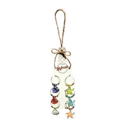 Cypress Home - Tropical Wine Charm Set - Colorful, beach-inspired designs will make this set of six identifying wine charms the talk of your next dinner party. �� Includes six charms 3.5'' W x 7.5'' H Glass / metal Imported