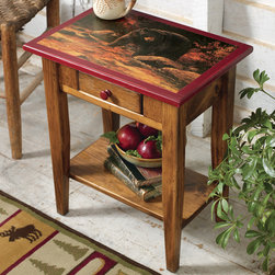 "Black Bear Creek Side Table - A Black Forest Decor Exclusive - Made of solid Eastern white pine  the go-anywhere Black Bear Creek Side Table features a charming  detailed image of a black bear alongside a forest stream  while a single drawer and open lower shelf offer convenient storage. Made in the USA. Measures 19 1/2""W x 13""D x 22 1/2""H. ~ Ships from the manufacturer. Allow 3 to 4 weeks."