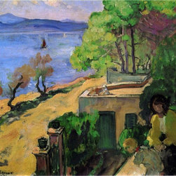"Henri Lebasque View of the Sea from the Balcony  Print - 16"" x 20"" Henri Lebasque View of the Sea from the Balcony premium archival print reproduced to meet museum quality standards. Our museum quality archival prints are produced using high-precision print technology for a more accurate reproduction printed on high quality, heavyweight matte presentation paper with fade-resistant, archival inks. Our progressive business model allows us to offer works of art to you at the best wholesale pricing, significantly less than art gallery prices, affordable to all. This line of artwork is produced with extra white border space (if you choose to have it framed, for your framer to work with to frame properly or utilize a larger mat and/or frame).  We present a comprehensive collection of exceptional art reproductions byHenri Lebasque."