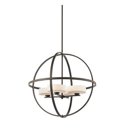 KICHLER - KICHLER 42506OZ Olsay Modern / Contemporary Chandelier - Dynamic in design, yet oh-so simple, the Olsay Collectiondefies conventional design to create a casually modern style.Intersecting perfect circles create an open orb form thatsurrounds the Satin-Etched Cased Opal Glass shades.