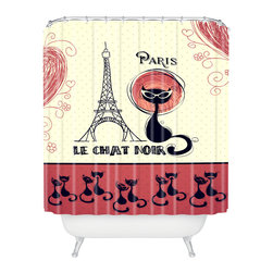 DENY Designs - Belle13 Le Chat Noir Shower Curtain - Who says bathrooms can't be fun? To get the most bang for your buck, start with an artistic, inventive shower curtain. We've got endless options that will really make your bathroom pop. Heck, your guests may start spending a little extra time in there because of it!