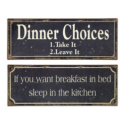 iMax - Breakfast and Dinner Signs, Set of 2 - whimsical black and white, tin, breakfast and dinner signs.