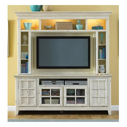 Liberty Furniture - New Generation Entertainment Center in White Finish - Mountable flat-screen capability. Ample storage for DVDs, CDs and electronics. Holds up to 50 in. flat-screen TV. Warranty: One year. Made from select hardwoods and birch veneers. Hutch inside TV space: 52 in. W x 33.75 in. H. TV stand adjustable shelf: 18 in. W x 17.63 in. D x 15.38 in. H. Open center: 36.5 in. W x 17.63 in. D x 7.38 in. H. Base: 75 in. W x 20 in. D x 30 in. H (216 lbs.). Hutch: 77 in. W x 12 in. D x 49 in. H (152 lbs.)