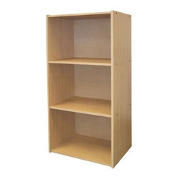 ORE International - 3-Tier Bookcase w Adjustable Shelves in Natur - 3 Level bookshelf. Scratch-resistant surface. Adjustable shelves. Sleek and minimalist design . Made from MDF. 16.5 in. W x 12 in. D x 35.5 in. H (24 lbs.)Add valuable bookshelf space to the office, living room or kid's room. Expand your storage space in a home office, children's room, utility room and more with this durable bookcase. Perfect for books, office supplies and toys.