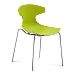 """Domitalia - Echo Stacking Chair in Green - Set of 2 - Echo Stacking Chair in Green - Set of 2; Color: Green; Frame: Satinated Aluminum; Lacquered metal frame; Enriched fibreglass polypropylene shell; Some assembly required.; Made in Italy; Dimensions: 32.5"""" H x 21.5"""" W x 21.75"""" D"""