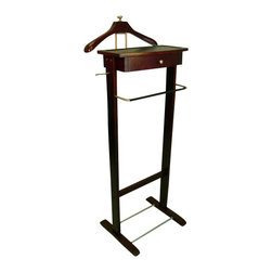 Proman - Proman Men's Valet - Kingston III, Solid Wood with Satin Nickel Hardware - Kingston III, solid wood, in Dark Walnut color with satin nickel hardware. Dresser Valet with drawer for misc storage. Hanger with a bras knob on top makes this valet stand out with elegance.