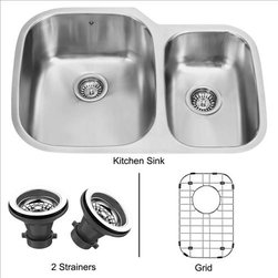 Vigo - VIGO VG3021LK1 Undermount Kitchen Sink - The VIGO double Kitchen Sink, matching grid and strainers complement any decor and are highly functional.