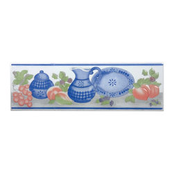 Renovators Supply - Wall Tiles White Ceramic Wall Tile & Borders - This traditional motif features blue dishes on a white background with a glossy glazed finish. The slightly raised relief offers some depth to the tile. Ceramic is easy to clean and lasts for generations. Measures 3 in. h x 10 in. l.