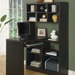 Monarch Specialties - Hollow Core Corner Desk - Six storage shelves at top to keep smaller items organized. Four larger shelves below ideal for books and other office supplies. Pull-out keyboard tray. Rich dark cappuccino finish. Shelves: 36.5 in. L x 11.25 in. D x . 37.75 in. W x 35.5 in. D x 60.25 in. H (102 lbs.)This unique contemporary corner desk offers combination storage for your home office. Pull-out tray can be positioned to the left or right of the unit allowing you to customize your space as needed.