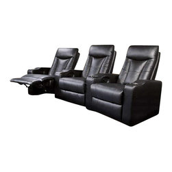 Coaster - Coaster Pillow Top Four Piece Leather Match Theater Seating Set in Black - Coaster - Home Theater Seating - 6001304 - This theater sectional from Coaster is sure to enhance any home theater experience. (4) adjustable chairs each feature a solid hardwood frame sinuous spring construction pillow top seat cushion and Leggett and Platt reclining mechanism. Authentic top-grain leather match upholstery adds to the overall beauty and comfort of this versatile reclining theater set. Includes chrome cup holders in each arm.