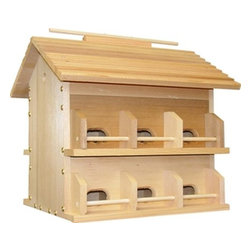 Heath - Cedar Martin House, Starling Resistant - Cedar Martin house, Starling resistant. Made of 3/4 thick lumber and masonite room dividers and floors. Room Dividers and floors lift out for easy cleaning. Includes mounting plate. Ventilated for bird comfort.