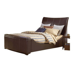 Hillsdale Furniture - Hillsdale Justin Upholstered Sleigh Bed with Storage in Brown Leather - Queen - Modern, unique and space conscious, the Justin bed has style (and room) to spare. Designed in a luxurious brown bonded leather, with a small storage area in the footboard perfect for throw pillows and blankets, the Justin bed is the answer to numerous bedroom design conundrums. Available in both queen and king sizes.