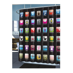 Home Decorators Collection - iBath Shower Curtain - Perfect for the techie or gadget lover, the iBath Shower Curtain features bright, visual images of mobile device apps that blend perfectly with your bath interface. The cool and fun apps are sure to delight guests while keeping your bath on the cutting edge of design style. Reinforced top hem. Made of eco-friendly PEVA.