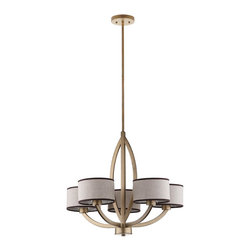 Safavieh - Talia Chandelier - Architecturally striking, the intriguing transitional Talia chandelier references the clean lines of Arts & Crafts style. Crafted of steel with an antique gold finish, its five gracefully upturned arms are topped with cream cotton shades edged in black.