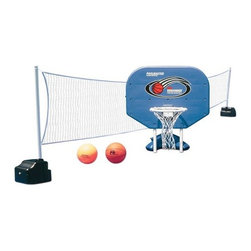 Poolmaster - Pro Rebounder Poolside Combo - The pro rebounder poolside basketball/ volleyball game combo set includes basketball game game ball net poles pole support bases and deluxe water volleyball with inflating needle.