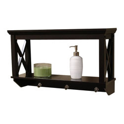 Sourcing Solutions, Inc. - X-Frame Bathroom Storage Collection, Espresso, Wall Shelf - RiverRidge®Home X-Frame Collection offers many storage options for a matching ensemble for your bathroom.  Modern, clean X-frame design adds instant appeal to any decor.   Simple to assemble.