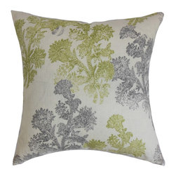 The Pillow Collection - Eara Floral Pillow Moss - Get ready to change your decors for the new season with this spring-inspired floral throw pillow. This accent pillow highlights a two-toned floral pattern against a natural fabric. The beautiful color combination of moss green and gray provides a refreshing twist to your interiors just in time for the spring season. This square pillow adds a polished look to your living room, bedroom or guestroom. Made from 100% high-quality linen fabric. Hidden zipper closure for easy cover removal.  Knife edge finish on all four sides.  Reversible pillow with the same fabric on the back side.  Spot cleaning suggested.