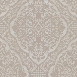 Wallpaper Worldwide - Century Classic - Lacey Damask Wallpaper, Grey, Offwhite - Material: Non-woven