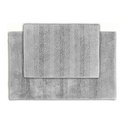None - Westport Stripe Stormy Seas Washable 2-piece Bath Rug Set - Classic and comfortable, the Westport Stripe bath collection adds instant luxury to your bathroom, shower room or spa. Machine-washable, the grey plush nylon holds up to wear, while the non-skid latex makes sure the rug stays in place.