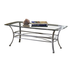 Hillsdale Furniture - Hillsdale Abbington 48x26 Rectangle Coffee Table - Hillsdale's subtly sophisticated Abbington occasional collection is created by a combination of a muted pewter finish, elegant scrollwork, and gracefully curved legs. Complete with a glass topped end table, console table and coffee table, you can accent your entire living room, den or foyer with this lovely ensemble. Though the Abbington occasional is fabulous as a collection each individual piece is strong enough to stand alone.