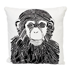 EJH Brand - Chimp Decorative Throw Pillow - The chimp goes chic on a cool, comfy hemp and organic cotton pillow. A symbol of intelligence, and the ideal balance between compassion and aggression, this beast indubitably belongs in your favorite setting.