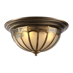 ParrotUncle - Antique Brass Dome Shaped Flush Mount Ceiling Lighting - Antique Brass Dome Shaped Flush Mount Ceiling Lighting