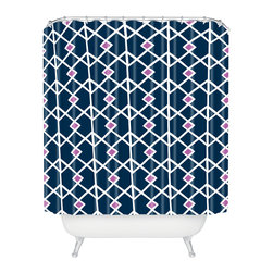 DENY Designs - Heather Dutton Annika Diamond Orchid Shower Curtain - Who says bathrooms can't be fun? To get the most bang for your buck, start with an artistic, inventive shower curtain. We've got endless options that will really make your bathroom pop. Heck, your guests may start spending a little extra time in there because of it!