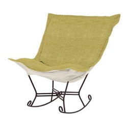 Howard Elliott Coco Peridot Scroll Puff Rocker - Mahogany Frame - Fashionista! A Coco Puff Chair is a sophisticated mix of texture and color. Like a gorgeous wool coat, this piece will stand out while perfectly complimenting your fashion forward style.