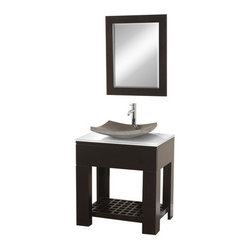 "Wyndham Collection - Wyndham Collection WCS1000ESWH Espresso / White Glass Top Zen II 30"" - Included Components:Hardwood vanity cabinetTempered glass vanity topSingle basin bathroom sinkMatching drain assemblyVanity Cabinet Features:Constructed of MDF providing a lifetime of durabilityVanity features a single full extension drawer providing ample concealed storage spaceEquipped with 1 shelf for even more storage spaceThis model is a complete package - vanity top includedThis fixture is highlighted by an included full-sized mirrorComplete with matching decorative hardwareVanity is crated and shipped fully assembledSolid cabinet construction ensures years of reliable performanceVanity Top Features:Vanity top is constructed of glass material providing a sturdy feel and clean appearanceTop features a recessed single basin sinkFaucet and waste assembly not included with this model - must be purchased separatelySturdy mounting assembly - ensuring safety and reliabilityAll hardware needed for installation is includedVanity Cabinet Specifications:Overall Height: 31-7/8"" (measured from ground level to highest point on vanity)Overall Depth: 22"" (measured from back most to front most point on vanity)Overall Width: 30"" (measured from left most to right most point on vanity)Mounting Style: FreestandingNumber of Drawers: 1Number of Doors: 0Vanity Top Specifications:Overall Depth: 22"" (measured from back edge to front edge of vanity top)Overall Width: 30"" (measured from left most to right most point on vanity top)Sink Installation Type: VesselNumber of Faucet Holes: 1Drain Outlet Connection: 1-1/2"""