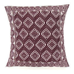 Chiapas Bazaar - Handwoven Mexican Throw Pillow Cover, Dark Plum - This is a handwoven pillow cover made on the back strap loom by master artisans of Chiapas, Mexico.  The weaving technique and the design date back to the Mayan period.