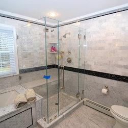 """Frameless Shower Doors, Frameless Glass Enclosures - Custom fully framelesss shower enclosure.  Glass used:  PPG 1/2"""" Starphire Low Iron."""