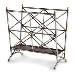 Cleveland Magazine Holder - Geometric screens of brushed bronze lean slightly out from the center of the Cleveland Magazine Holder, a simple metal rack starred with gold-leaf accents for an upscale look. The somewhat urban simplicity of the lattice design used for this elegant openwork media stand makes it a perfect choice for complementing humbler textures and solid furnishings.