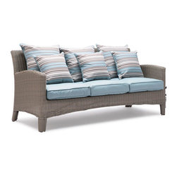Maclear Synthetic Weave Outdoor Sofa - This patio sofa is made of Synthetic Weave and Aluminum. The cushions are covered in weather-resistant blue fabrics.