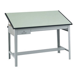 Safco - Safco Precision Drafting Table Base - Safco - Drawing Tables - 3962GR - This sturdy professional drafting table base features heavy-gauge steel framing, board tilt up to 50 degrees and a locking tool drawer plus reference drawer. Base and top sold separately.