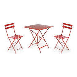 Fermob - Bistro Square Dining Set - This modern bistro dining setup is great for relaxing in the sun and enjoying a lazy day outside. The pieces are fully collapsible and so they are easy to store, and once they are out and being used, you will love the way they look. The bold and bright colors add a freshness to an outside space, and the hig quality of the materials makes Bistro Square Dining Seta great purchase.