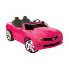 """Kidz Motorz - Camaro Ride On in Pink - Features: -Camero ride on. -Color: Pink. -Ages 3-7 years. -Crafted of plastic and steel. -Chrome grille and hubcaps. -Pretend seatbelt. -Assembly: Assembly Required. -The 12-volt battery propels two passengers at a cruising speed of up to 5 mph. -Releasing the gas pedal brings the car to a smooth stop. -Car's interior keeps young drivers entertained with electronic sound buttons that play different authentic effects. -An FM radio and a MP3 outlet for the young rider to play music from any MP3 and/or iPod. -Vehicle runs for up to one hour on a full charge. -Warranty: 90 day Limited Manufacturer. -23.11"""" H x31"""" W x 59.06"""" L, 69.3 lbs. -Weight capacity: 130 lbs."""