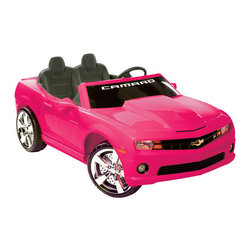 "Kidz Motorz - Camaro Ride On in Pink - Features: -Camero ride on. -Color: Pink. -Ages 3-7 years. -Crafted of plastic and steel. -Chrome grille and hubcaps. -Pretend seatbelt. -Assembly: Assembly Required. -The 12-volt battery propels two passengers at a cruising speed of up to 5 mph. -Releasing the gas pedal brings the car to a smooth stop. -Car's interior keeps young drivers entertained with electronic sound buttons that play different authentic effects. -An FM radio and a MP3 outlet for the young rider to play music from any MP3 and/or iPod. -Vehicle runs for up to one hour on a full charge. -Warranty: 90 day Limited Manufacturer. -23.11"" H x31"" W x 59.06"" L, 69.3 lbs. -Weight capacity: 130 lbs."